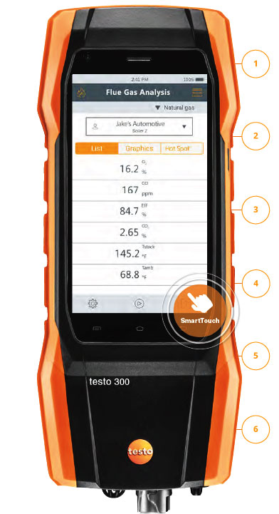 Testo 300 combustion analyzer SmartTouch Flue Gas Analysis with the SmartTouch icon